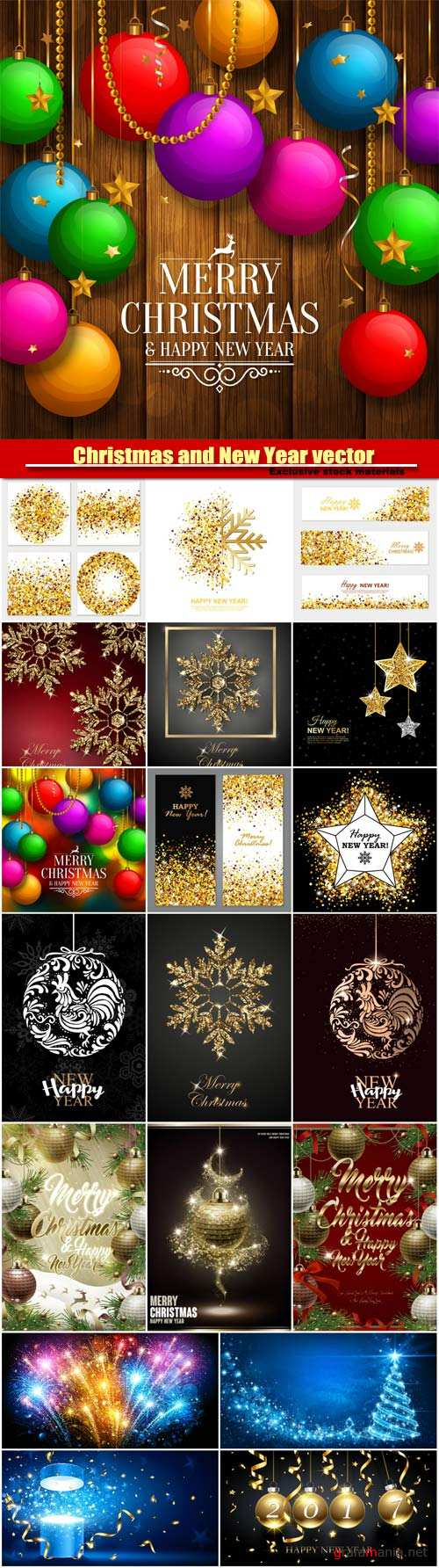 Christmas and New Year vector background, colorful balls, golden stars