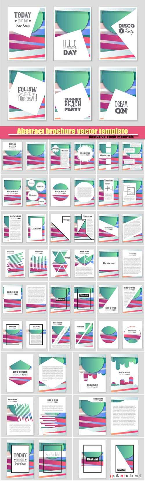 Abstract brochure vector template, design layout background set