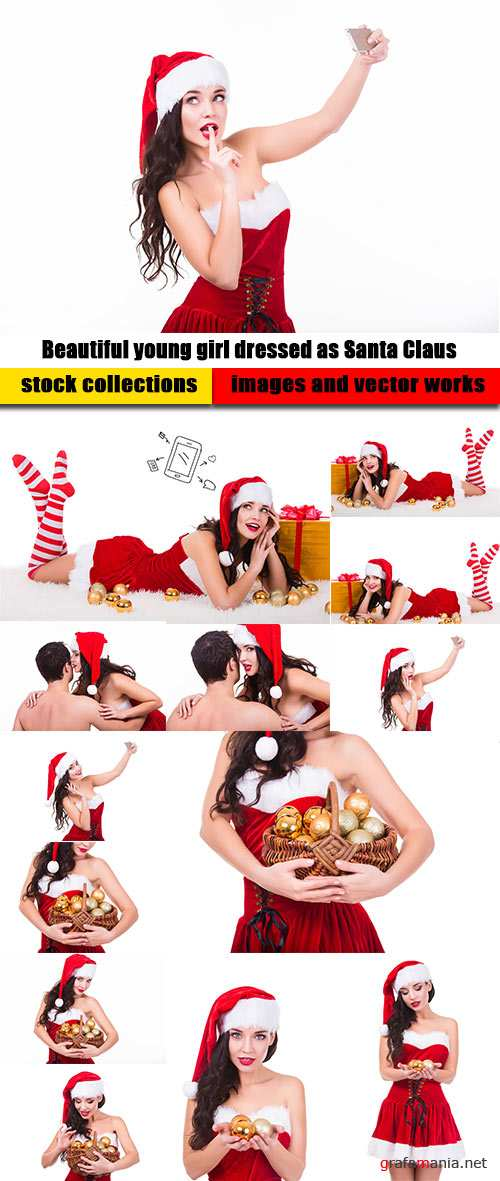 Beautiful young girl dressed as Santa Claus