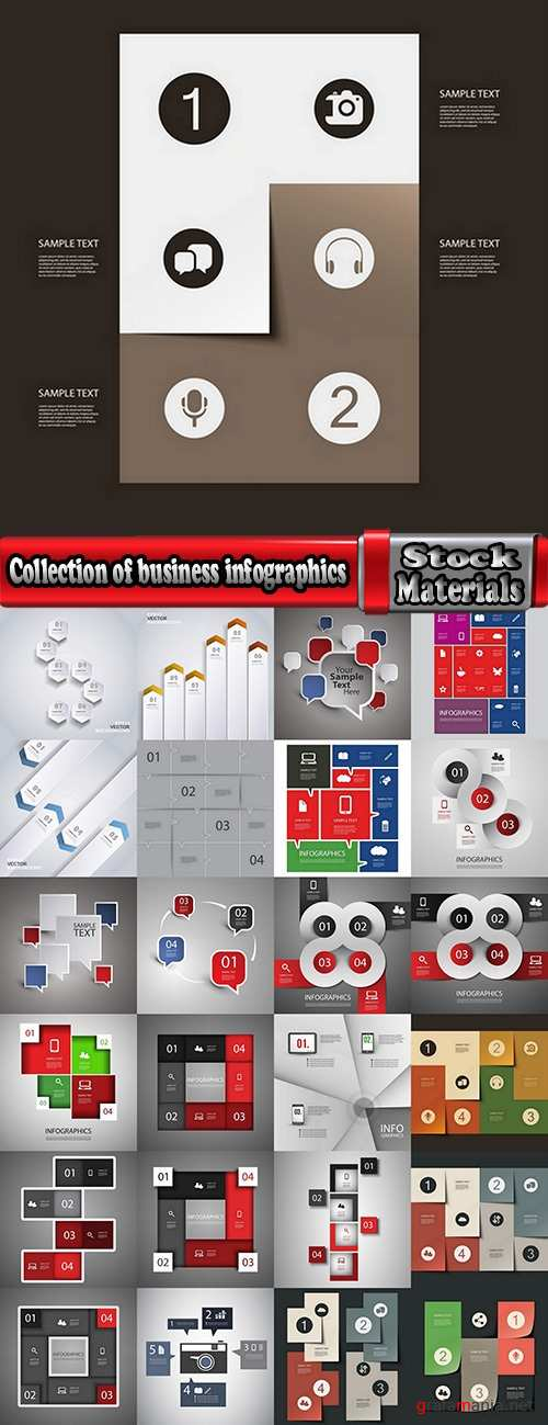 Collection of business infographics template is an example of a web site is a step by step calculation 9-25 EPS