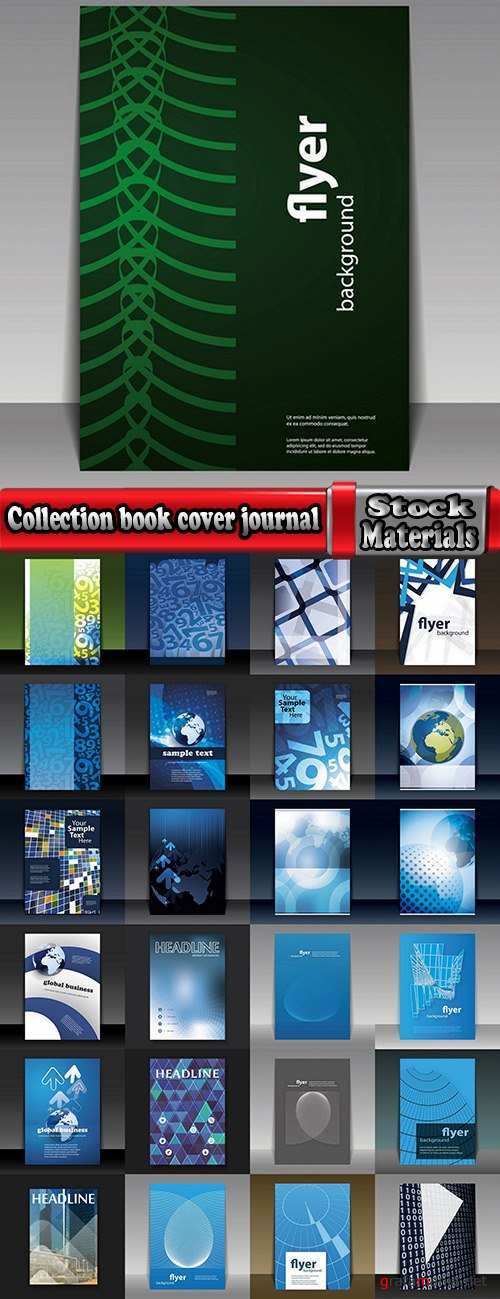Collection book cover journal notebook flyer card business card banner vector image 40-25 EPS