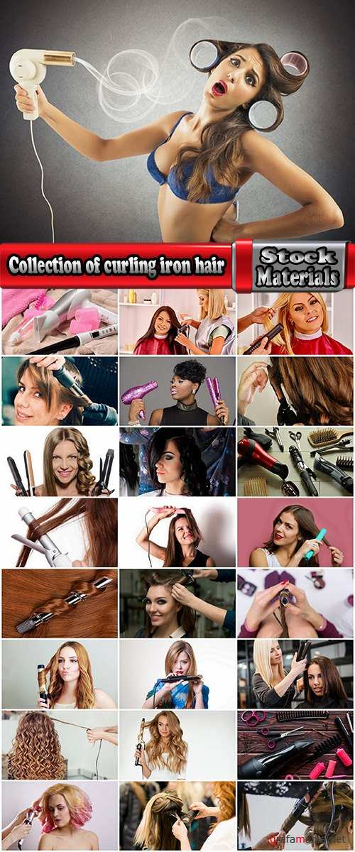Collection of curling iron hair perm hairstyle beautiful girl woman 25 HQ Jpeg