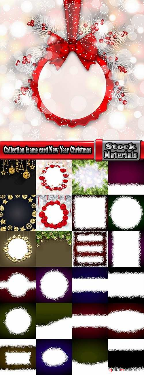 Collection frame card New Year Christmas tree toy gift card 25 EPS