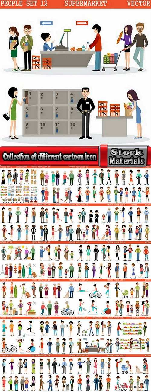 Collection of different cartoon icon cartoon flyers to banner book 2-25 EPS