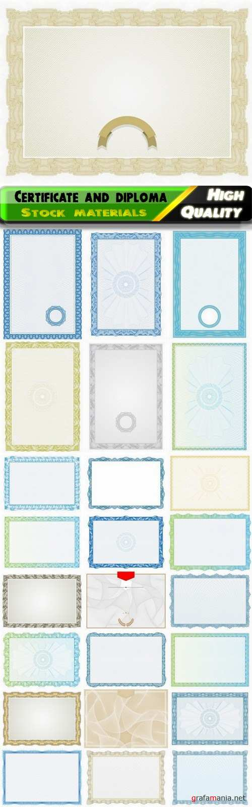 Blank certificate and diploma guilloche decorative frame 2 25 Eps