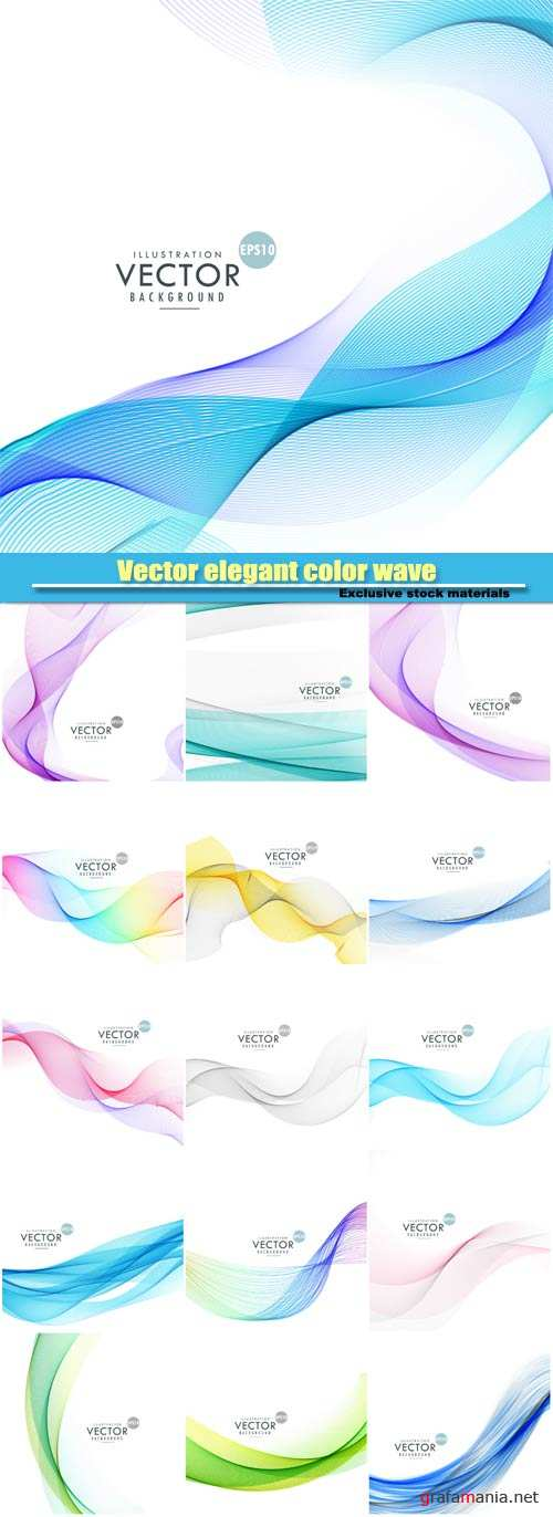 Vector elegant color wave on white background