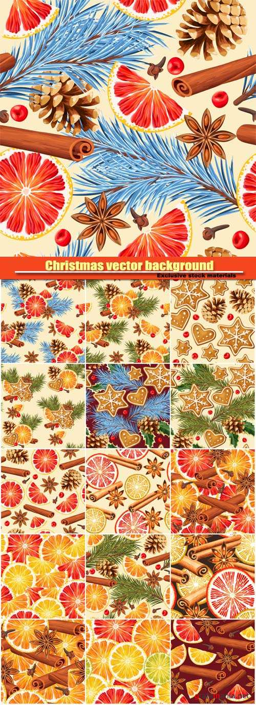 Christmas and New Year vector seamless background, orange slices and mulled wine