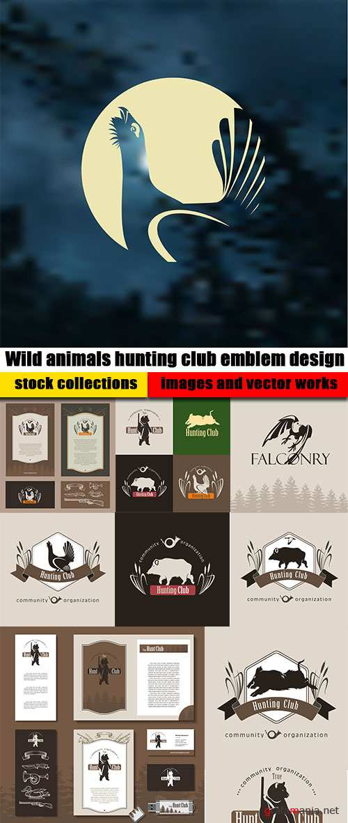 Wild animals hunting club emblem design