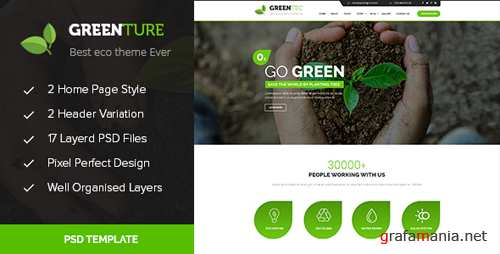Greenture - Environment / Non-Profit PSD Template 15339156