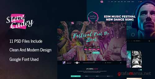 Steve Cadey - Modern & Stylish Music Event PSD Template 16392007