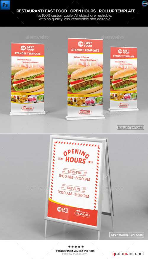 Restaurant/ Fast Food-Open Hours-Rollup Template 12369975