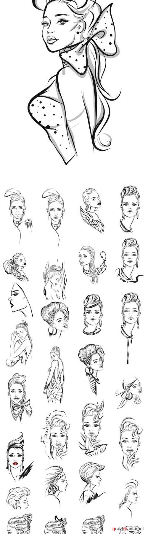 Vector Beautiful Woman Line art Illustrations