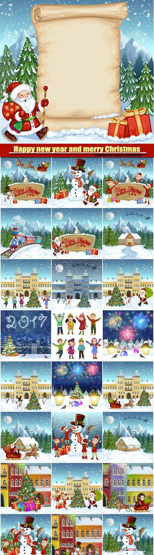 Happy new year and merry Christmas vector, winter town, children with snowman