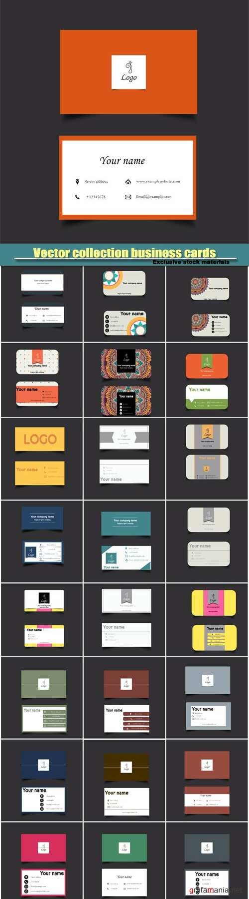 Vector collection business cards