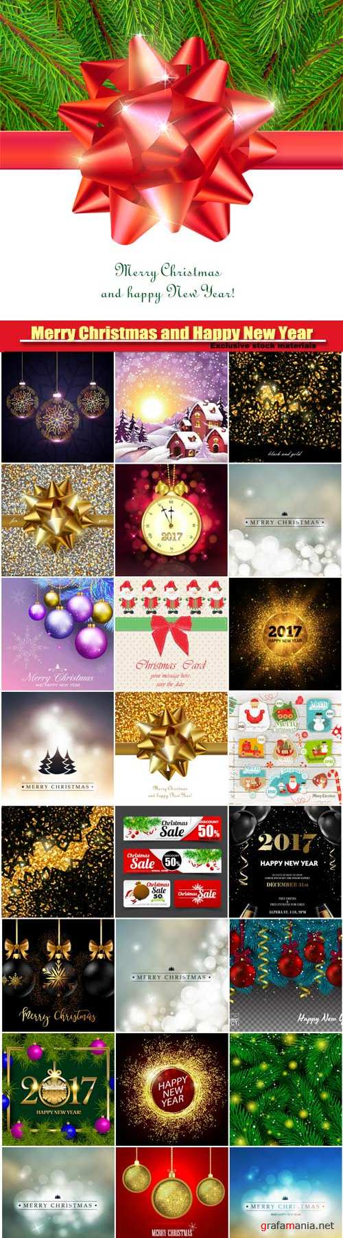 Merry Christmas and Happy New Year vector, festive background for greeting card, shiny decorative sign