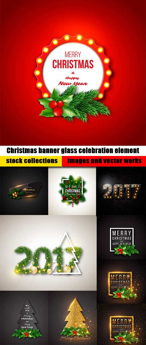 Christmas banner glass celebration element