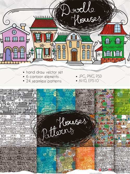 Set of Cute Doodle Houses - 1108538