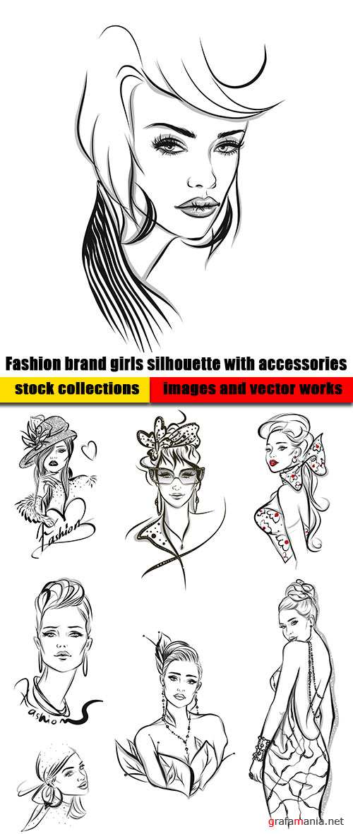 Fashion brand girls silhouette with accessories