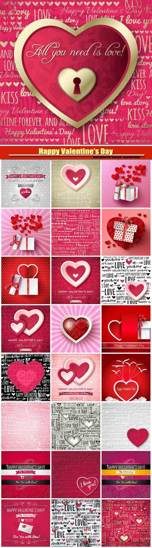 Happy Valentine's Day vector, hearts, romance, love #9