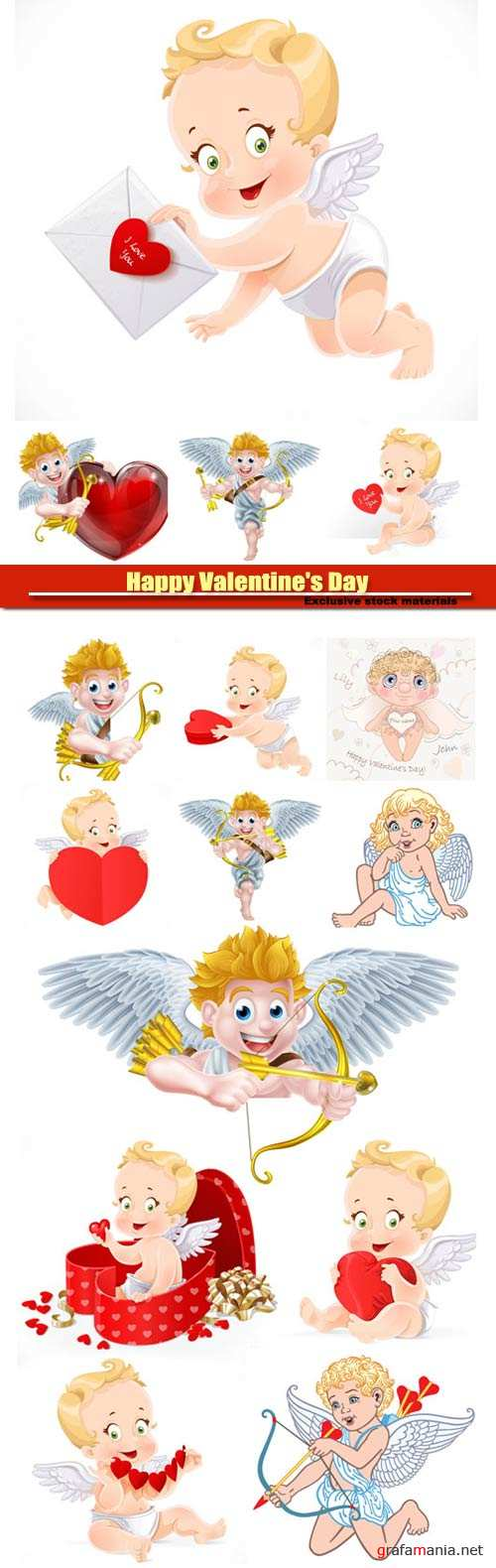 Happy Valentine's Day vector, hearts, romance, love, angels #7
