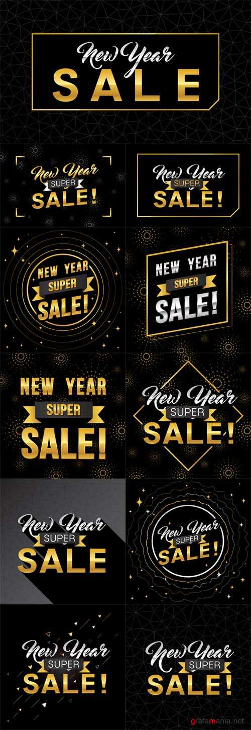 Vector New Year Super Sale Banner Template with Gold Theme Design