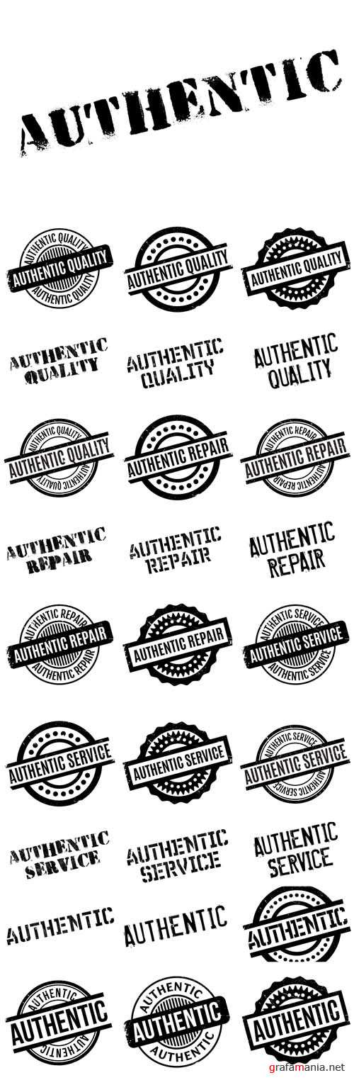 Vector Authentic Rubber Stamps