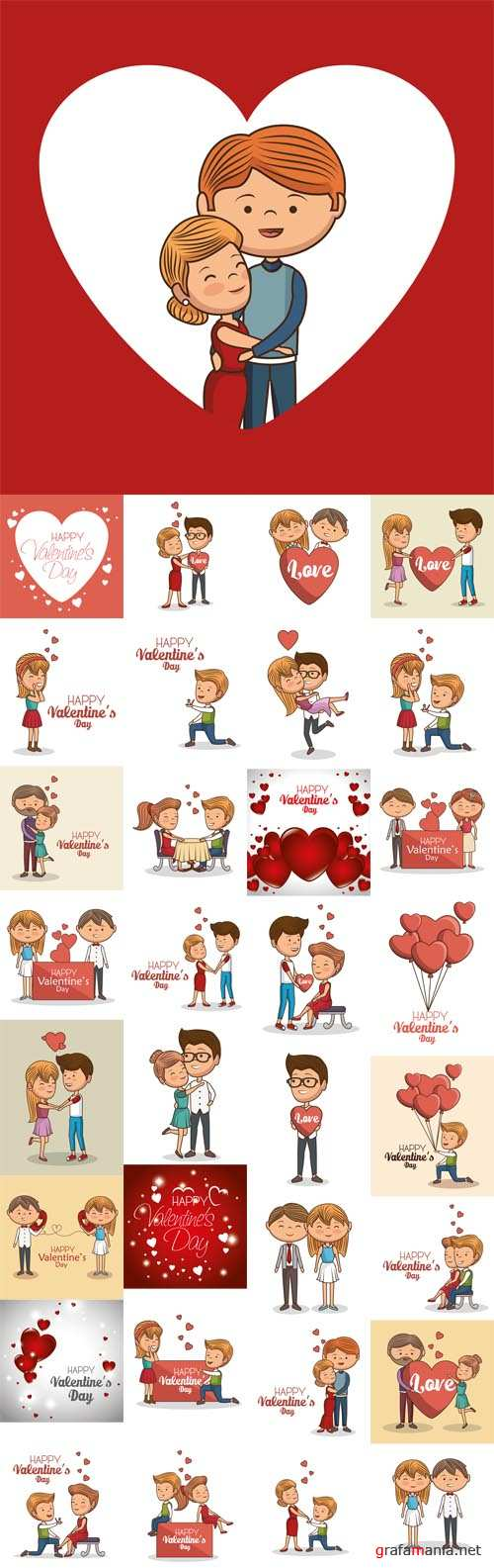 Vector Lovely Couple Valentines Day Illustration Design