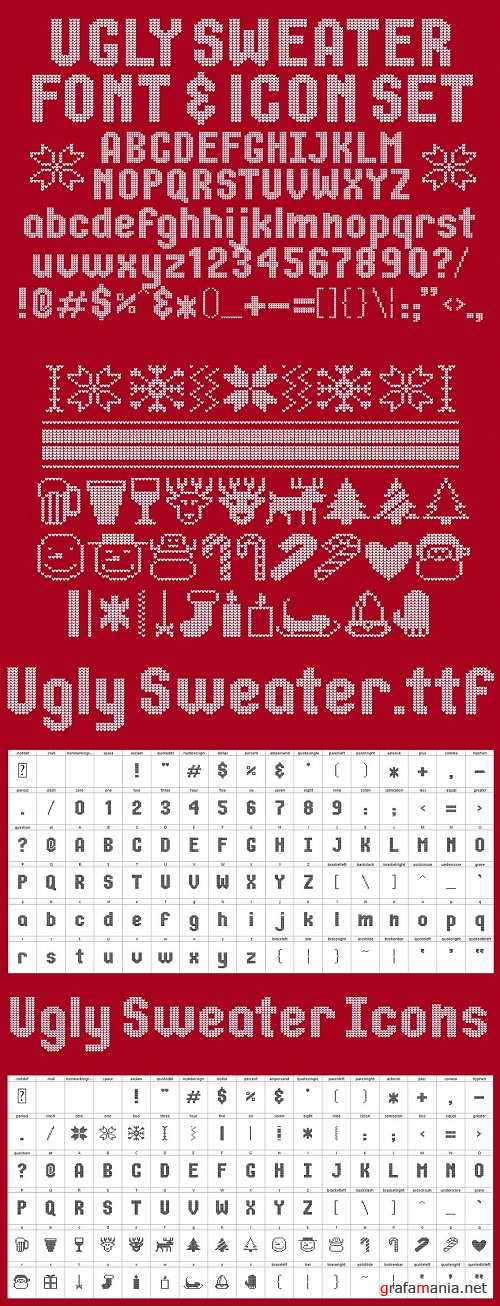 Ugly Sweater Font & Icon Set - 1129562