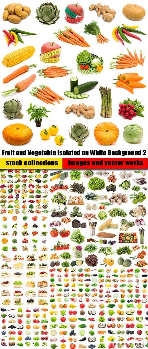 Fruit and Vegetable Isolated on White Background 2