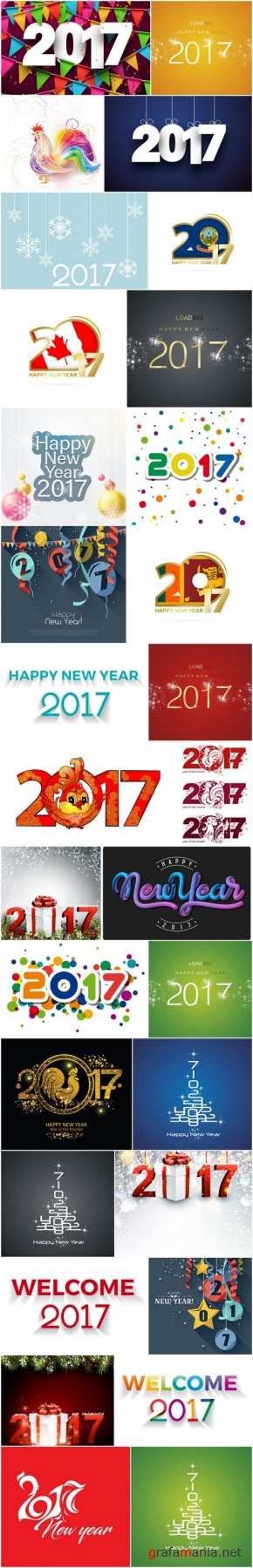 New Year Design 2017 part 8 - Set of 30xEPS Professional Vector Stock