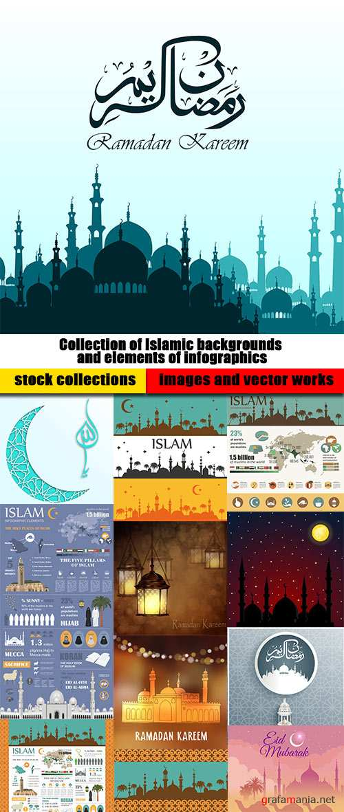 Collection of Islamic backgrounds and elements of infographics