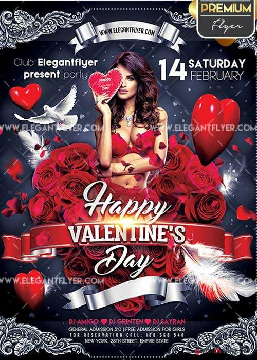 Happy Valentines Day Flyer PSD V23 Template + Facebook Cover