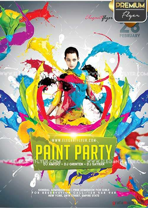 Paint Party Flyer PSD V02 Template + Facebook Cover