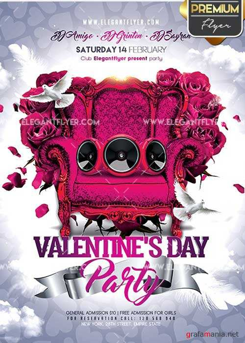 Valentines Day Party Flyer PSD V24 Template + Facebook Cover