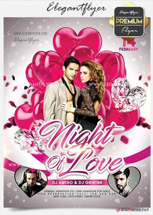 Night Of Love Flyer PSD V02 Template + Facebook Cover