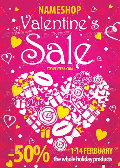 Valentine's Sale PSD V13 Flyer Template