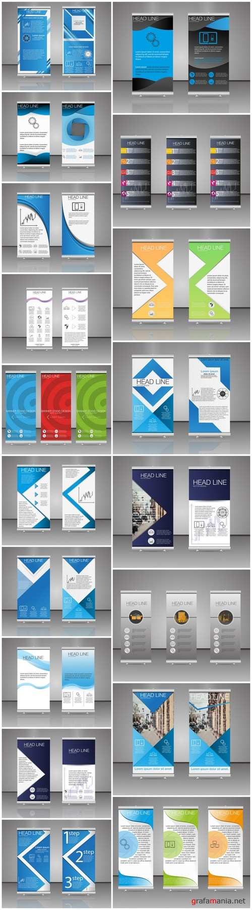 Corporate vertical vector flyer & roll up banner 4 - 18xEPS