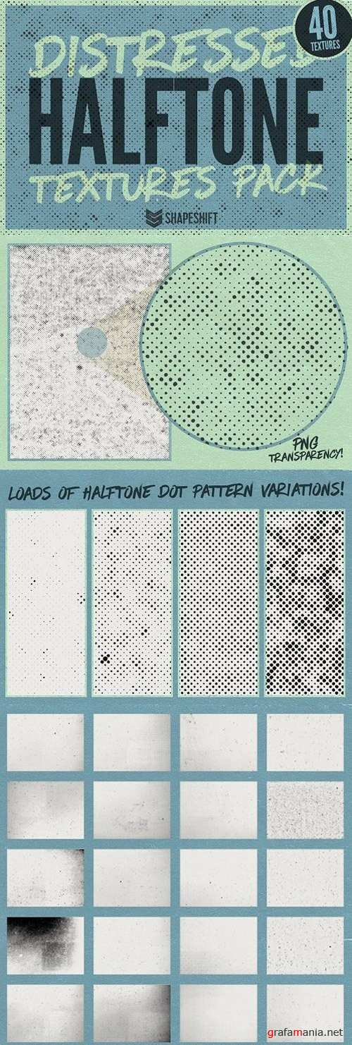 Distressed Halftone Textures Pack - 1158561