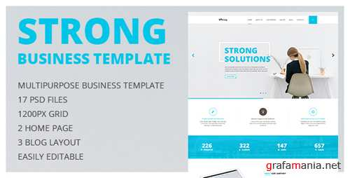 Strong - Multipurpose Business and Portfolio PSD Template with Clean Minimal Design 14931663