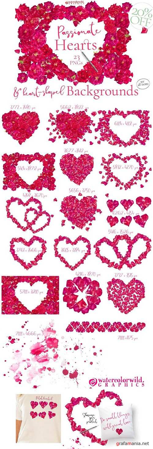 Red Roses Backgrounds & Hearts - 1154235