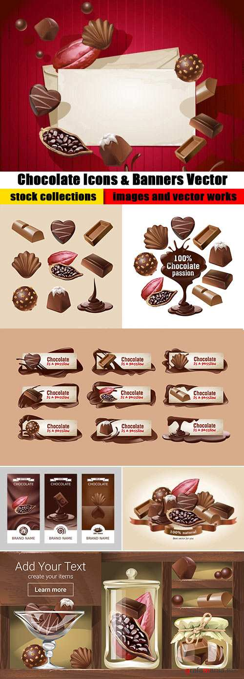 Chocolate Icons & Banners Vector