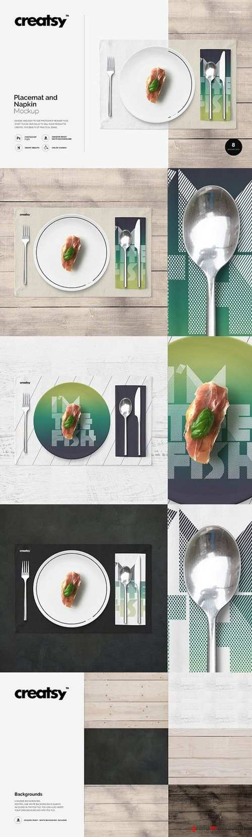 Placemat and Napkin Mockup 1142076