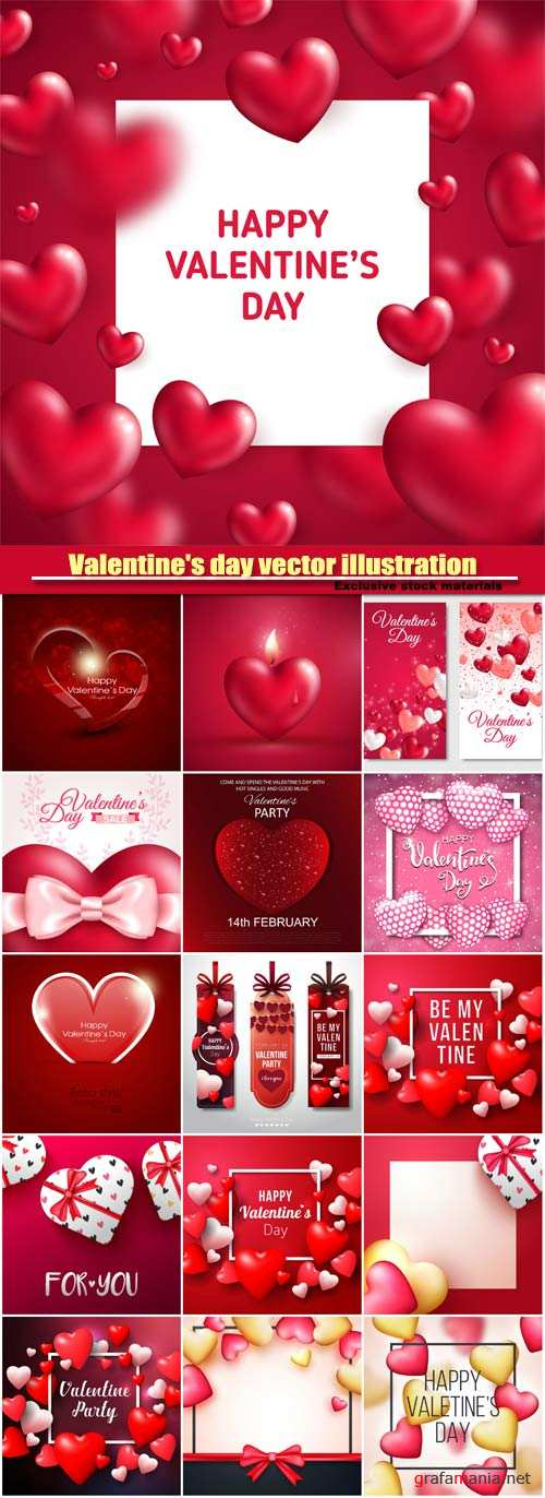 Valentine's day vector illustration, glossy red hearts with square frame