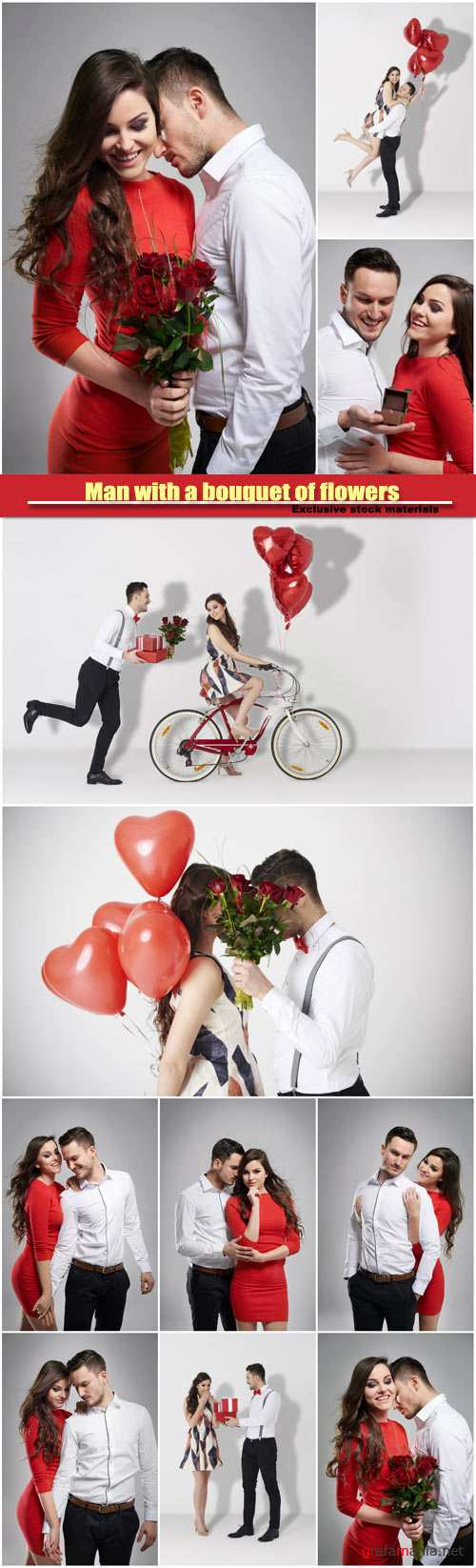 Man with a bouquet of flowers for his beautiful woman