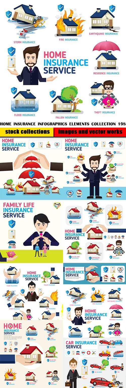 Home Insurance Infographics elements collection 198