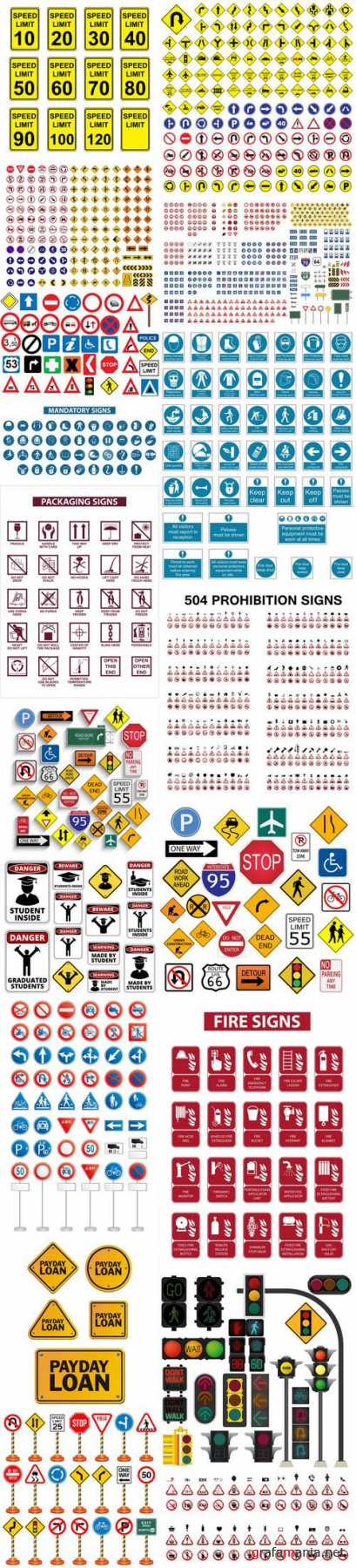 Road signs & under construction 2 - 18xEPS