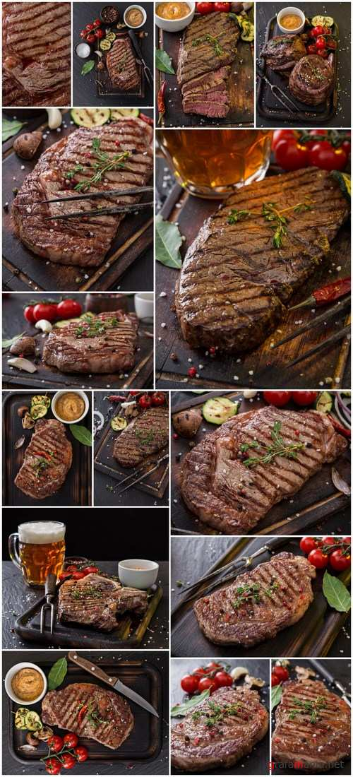 Beef Steak on Wooden Table 3 - 15xUHQ JPEG