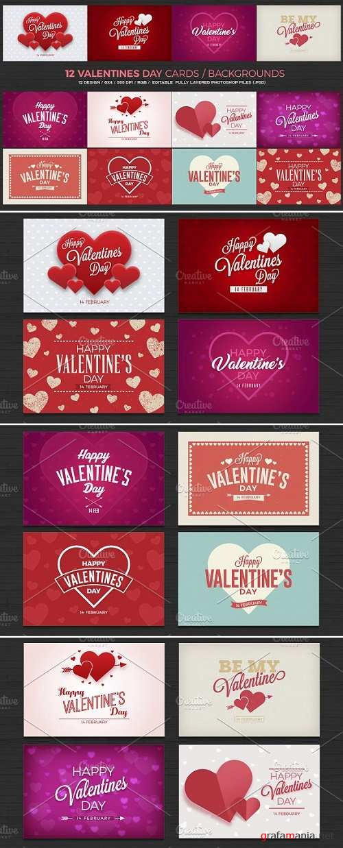 12 Valentines Day Cards/Backgrounds - 1140821