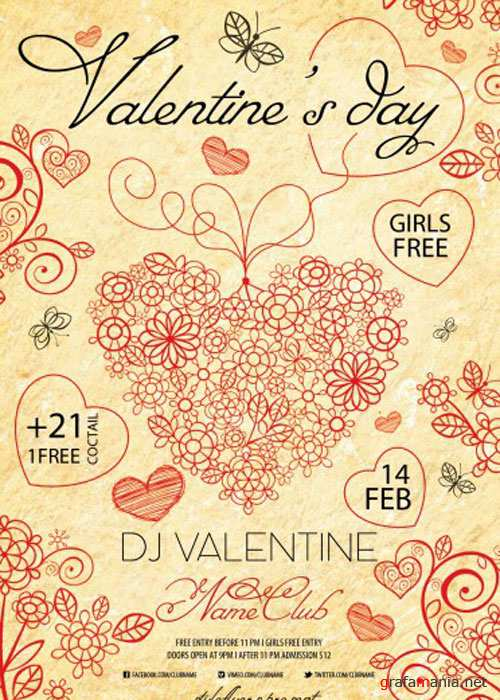 Valentine's Day PSD V14 Flyer Template with Facebook Cover