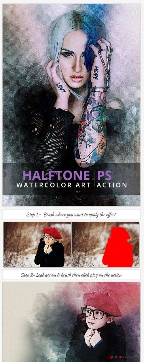 Halftone Watercolor Art | PS Action - 19265835